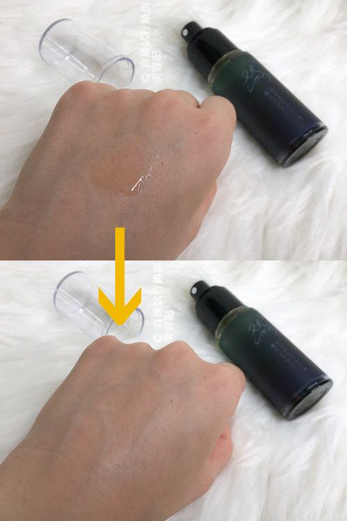 然プラス 生ビタミンシリカ導入シャワーを、手の甲にスプレーして、浸透具合を調べている写真。