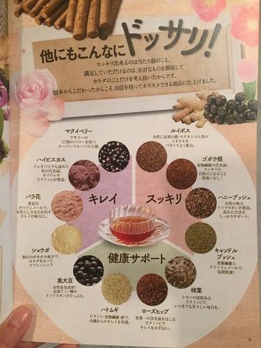 「桃花スリム」の原材料の説明が書いてあるリーフレット。