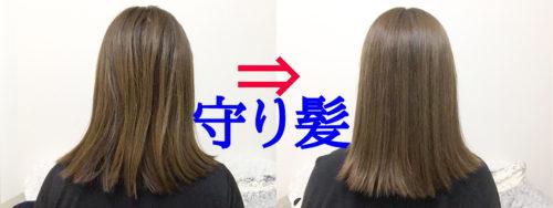 株式会社ティエラコスメティクスの「守り髪」の「美髪ベースメイクシャンプー」と「美髪ベースメイクトリートメント」を使う前(左)と、2週間使った後の比較写真。